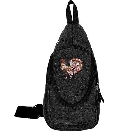 Canvas Chest Unbalance Crossbody Bag, Cock Outdoor Activities Shoulder  Backpack Rucksack For Men Women