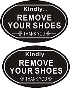 2 Pack Please Remove Your Shoes Sign, Home Decoration Sign, 8 x 5 Inches Plastic Carving with Strong Self-Adhesive Tape