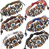 Soldcool 6 Pack Wholesale Vintage Wrap Bracelet Evil Eye Metal Wristband Wood Beaded Dress Cuff Jewelry