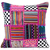 Eyes of India - 16'' Pink Patchwork Dhurrie Pillow Cover Boho Seating Bohemian Colorful Decorative Cushion Throw Sofa Couch IndiaCover Only