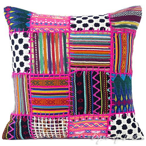 Eyes of India - patchwork pink pillow