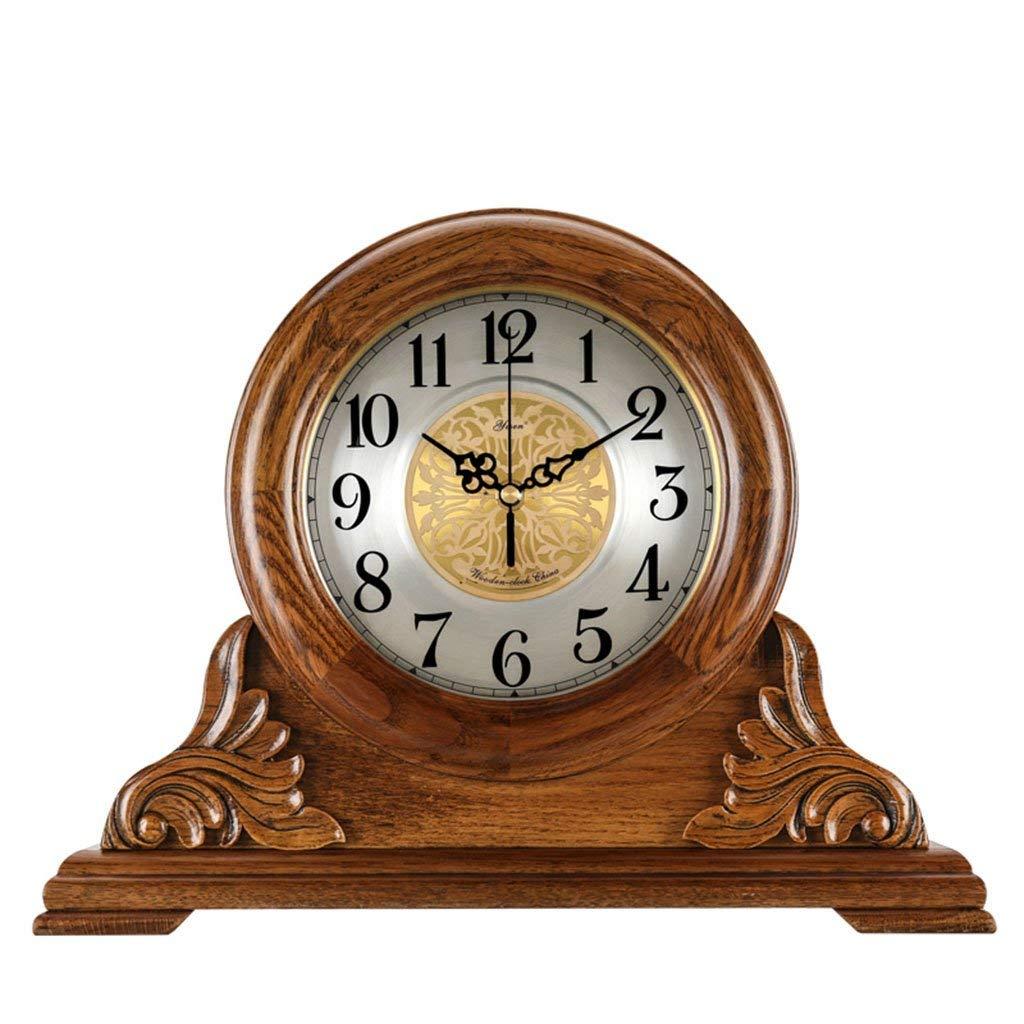 デスククロックファミリークロックサイレントテーブルクロックマントルクロックのリビングルームの寝室ヴィンテージソリッドウッドクォーツ時計飾りリビングルームの寝室に適していますオフィス(色:#-001) B07THHBVGQ #-001