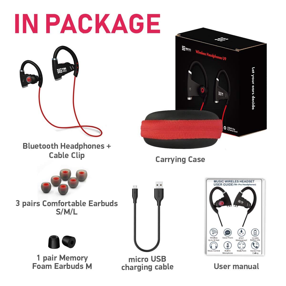 90ab83f6176 [Newest 2019] Bluetooth Headphones w/ 12+ Hours Battery - Best Wireless  Sport Earphones, Mic - IPX7 Waterproof Music in-Ear Earbuds Gym, Running,  ...
