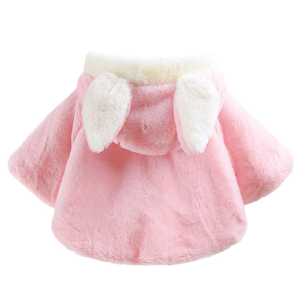 Genda 2Archer Baby Girl Faux Fur Warm Hooded Coat Cute Bunny Cape with Butterfly