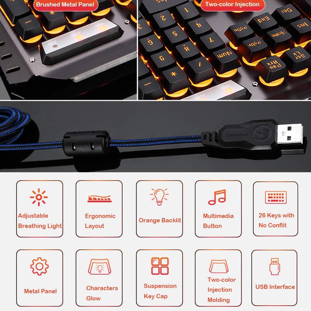 Urchoiceltd Juego De Teclado y Mouse Tecnología M398 Retroiluminación De Teclado Con Cable Keyboard Metal Waterproof + Cable 2000 DPI 6 Botones Ratón ...