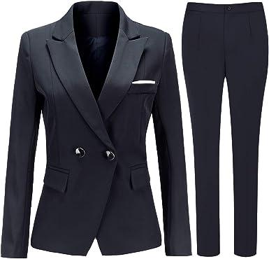 Conjunto De 2 Piezas De Traje Blazer De Doble Pecho Para Mujer Con Chaqueta Y Pantalones De Vestir Azul Marino Small Amazon Es Ropa Y Accesorios