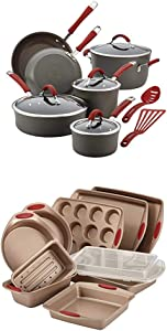 Rachael Ray Cucina Hard-Anodized Aluminum Nonstick Pots and Pans Cookware Set, 12-Piece, Gray, Cranberry Red Handles with Rachael Ray 52410 10-Piece Steel Bakeware Set, Cranberry Red