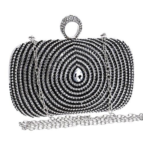 Lujo De Vestido Mujer Bandolera Bolso Clutch Tatkldisu color Black Noche Black Para Diamantes 50BXxY