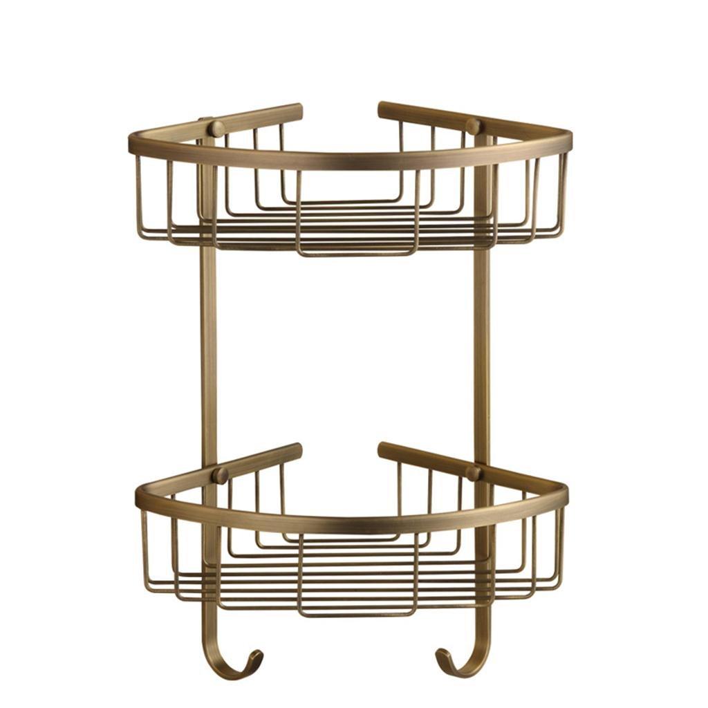 All Copper Double-Deck Antique Triangle Shelves, Bathroom Basket Racks Corner Shelf,Brushed