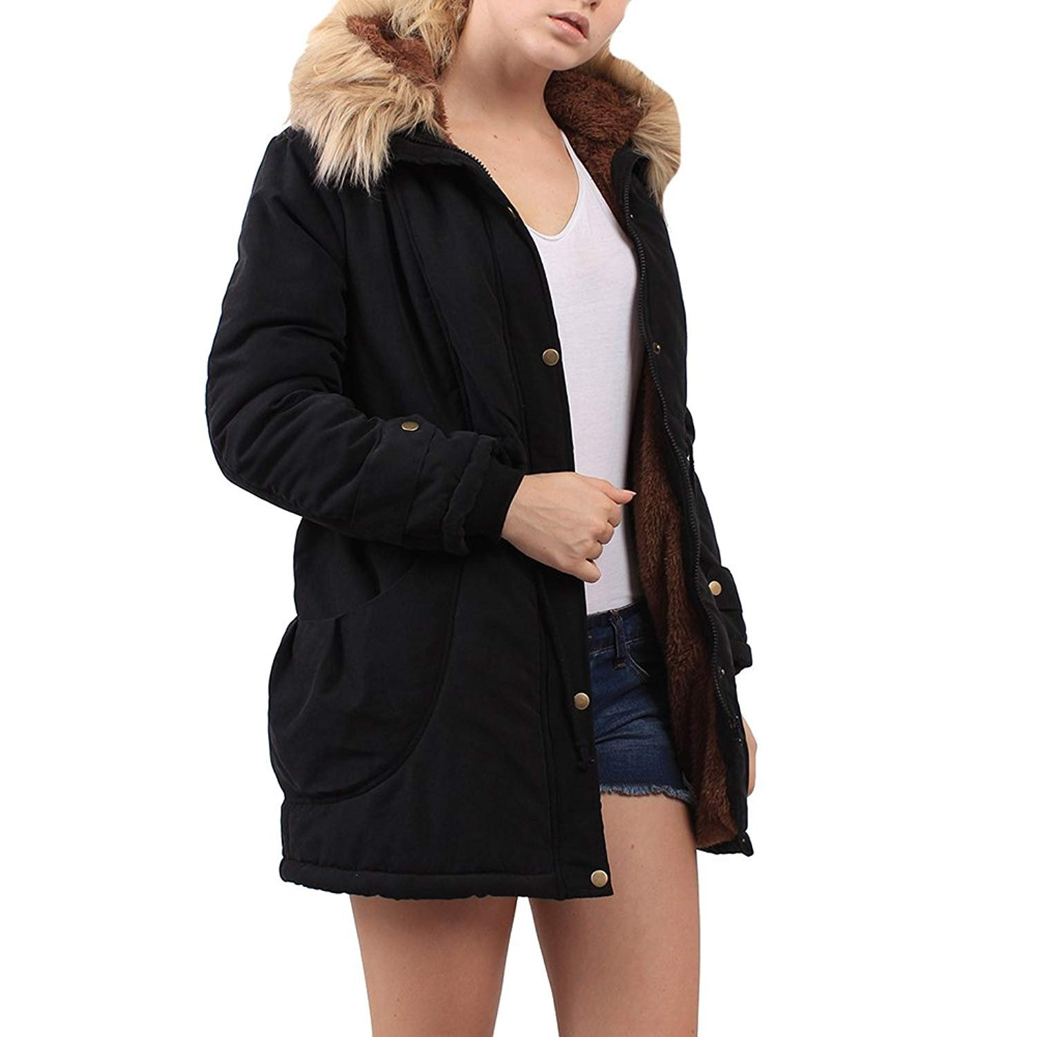 04153be6d64a Rela Bota Womens Hooded Warm Winter Faux Fur Lined Coats Parkas Wool Jacket  Outwear larger image