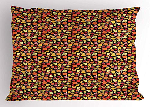 K0k2t0 Fruit Pillow Sham, Yummy Banana Apple Peach Strawberry Summer Spring Vegetarian Treats Healthy Life, Decorative Standard Queen Size Printed Pillowcase, 30 X 20 Inches, -