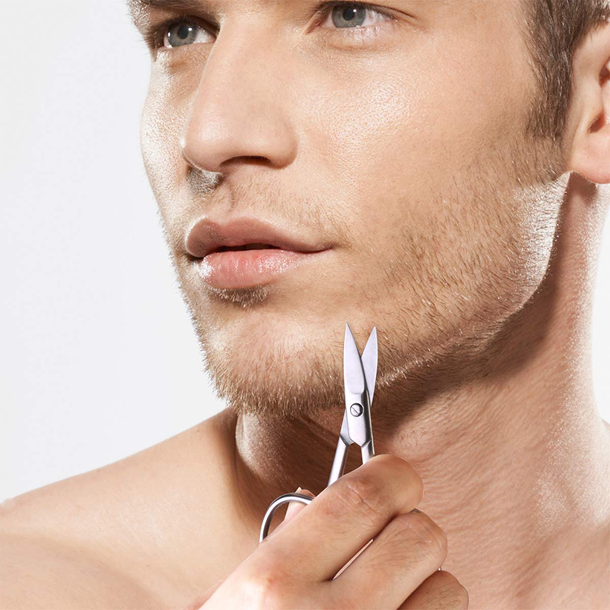 Nose Hair Scissors Beard Eyebrow Trimmer Scissors Stainless Steel Set with Storage Box