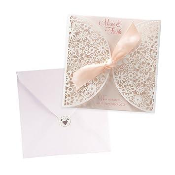 Schön Einladungskarten Rose Für Die Hochzeit, Lasercut Spitze, Blanko  Hochzeitseinladungskarten Mit Umschlag Und Weddix