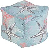 Surya POUF-290 100-Percent Polyester Pouf, 18-Inch by 18-Inch by 18-Inch, Teal/Charcoal/Coral/Ivory/Lavender