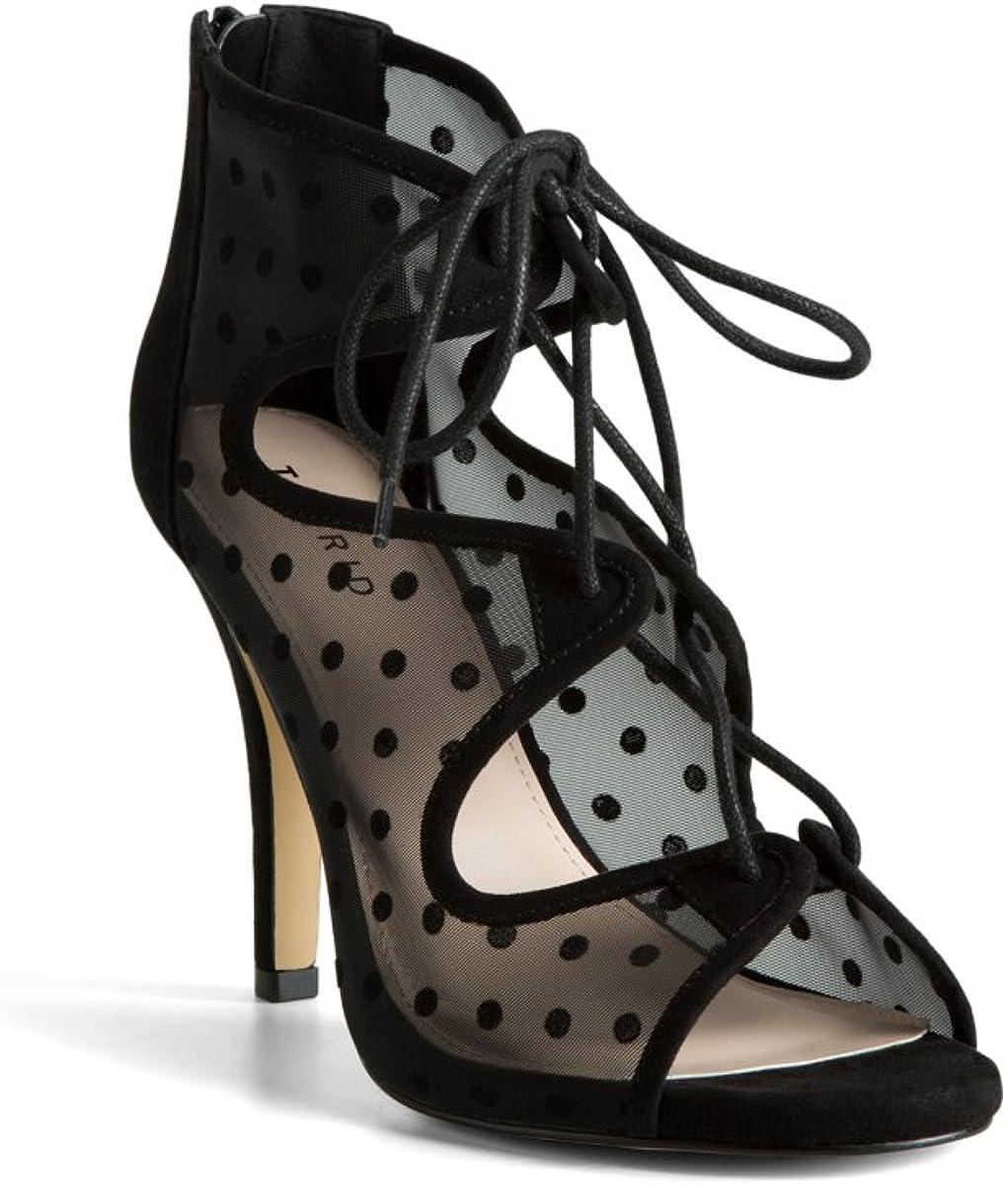 Polka Dot Mesh Lace Up Heels (Wide
