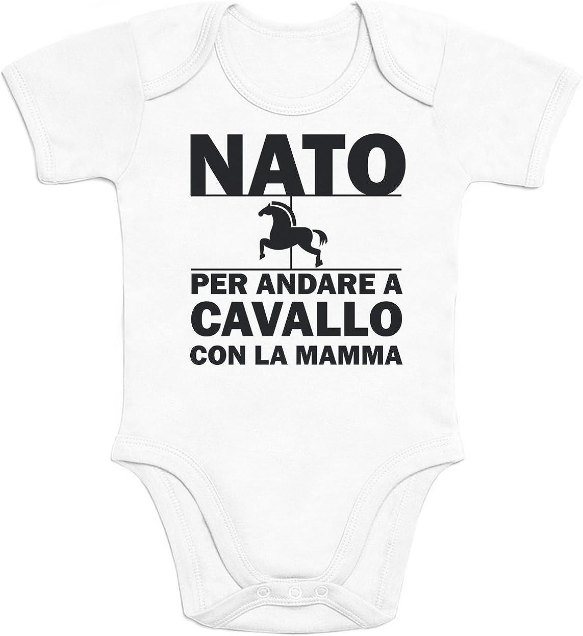 Idea Regalo Body Neonato Manica Corta Shirtgeil Nato per Andare a Cavallo con la Mamma