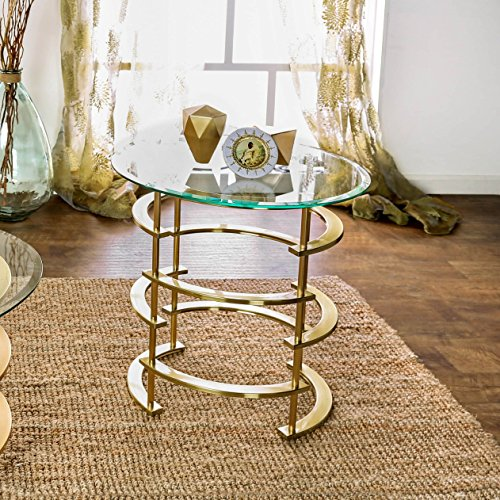 Furniture of America Odella Contemporary 2-piece Glam Glass Top Accent Table Set Gold Gold Finish by Furniture of America (Image #3)