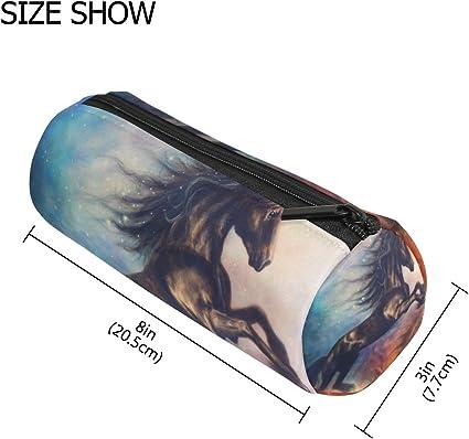 TIZORAX - Estuche para lápices de dibujo de unicornio negro con cremallera, organizador de monedas para maquillaje, cosméticos para mujeres, adolescentes, niñas, niños: Amazon.es: Oficina y papelería