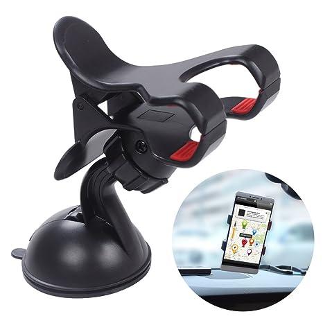Soporte para teléfono móvil, EFORCARCAR, parabrisas para coche, doble clip, soporte giratorio