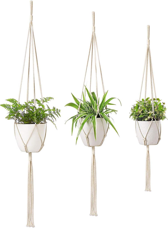 Dahey Handmade Macrame Plant Hangers- 3 Packs, 3 Sizes Hanging Planter Basket Cotton Rope Holder Indoor Outdoor Modern Boho Home Decor