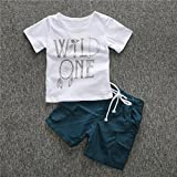 FEITONG 1Set Kids Toddler Boys Letter Print T-shirt+ Shorts (2T / 2Years)