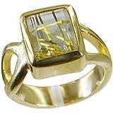 Riyo plaqué or multiples indien gprrqcz65-106057 de bijoux faits main bague de rutile cz de quartz
