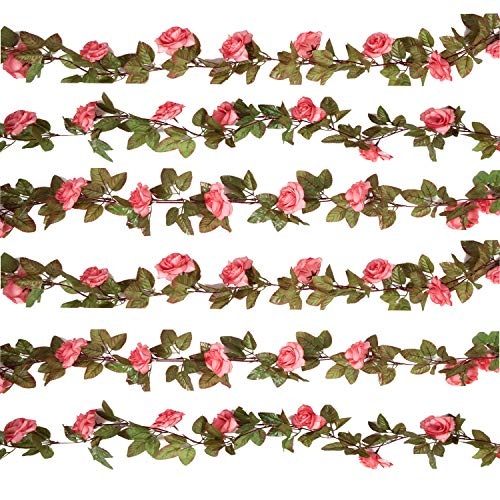 Pauwer 6PCS(44.3FT) Artificial Rose Vine Silk Flower Garland Hanging Fake Roses Flowers Plants for Home Garden Office Hotel Wedding Party Decor, Pink