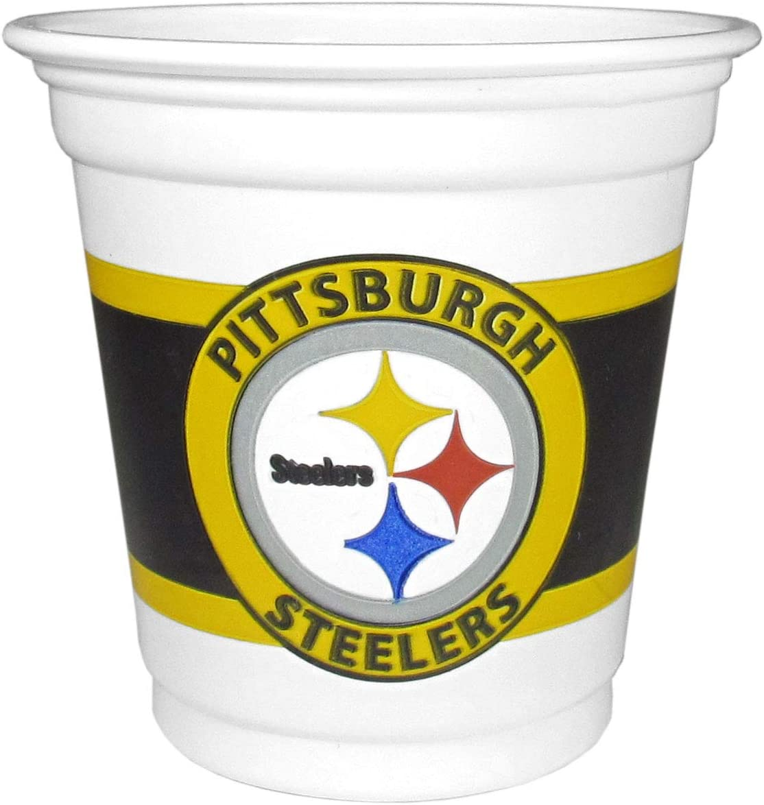 3 oz NFL Siskiyou Sports Pittsburgh Steelers Plastic Game Day Cups 18 Count, White