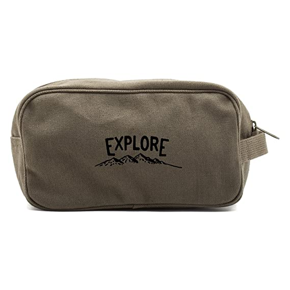 0ff5dcc468 Image Unavailable. Image not available for. Colour  Grab A Smile Explore  Canvas Shower Shaving Dopp Kit Travel Toiletry Bag Case