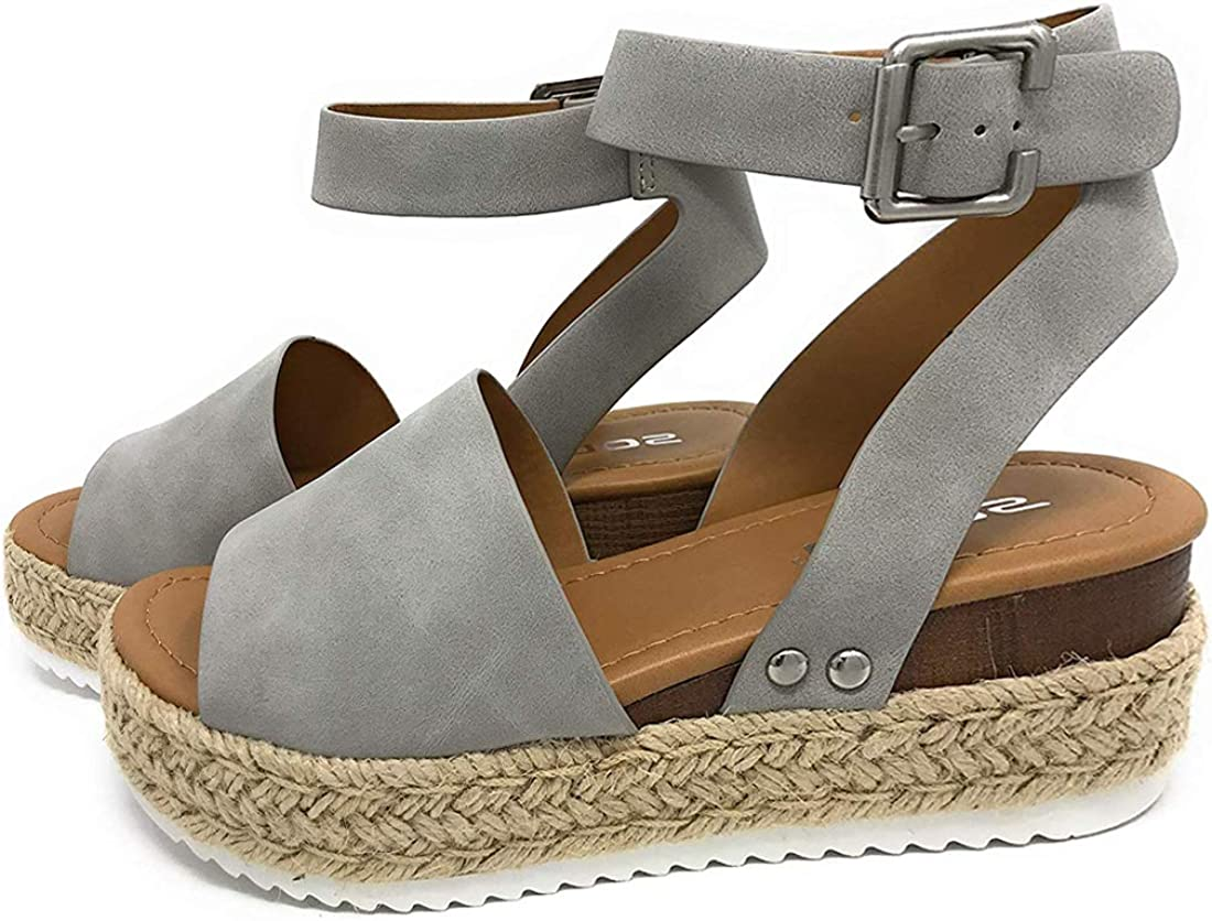 Sandalias Mujer Verano 2020,Pulchram Cáñamo Fondo Grueso Sandalias Punta Abierta Cuero Fondo Plano Zapatos Bohemias Romanas Hebilla Zapatillas