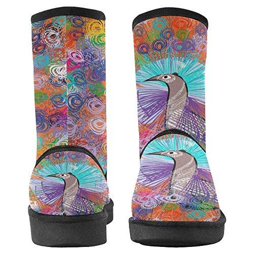 Snow Stivali Da Donna Interesse Design Unico Comfort Inverno Stivali Pavone Con Piume Multicolore Multi 1