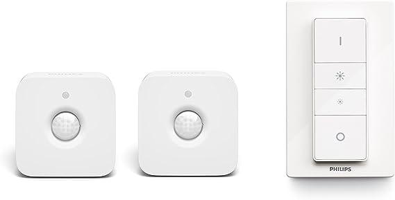 Philips Hue Pack de 2 sensores de movimiento e interruptor inalámbrico incluido, controlables vía WiFi (compatible con Amazon Alexa, Apple HomeKit y