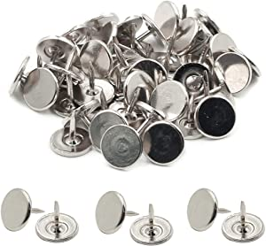 ZXHAO Round Flat Head Antique Upholstery Nails Tacks Furniture Nails Pins Silver Tone 11x10mm 50pcs