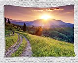 Ambesonne Nature Landscape Decor Collection, Sunset in the Mountain Landscape Rural Road Forest Countryside Wonderland Print Deco, Bedroom Living Room Dorm Wall Hanging Tapestry, 80W X 60L Inch, Multi