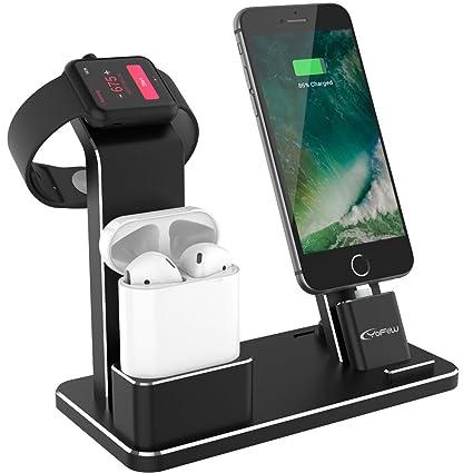 YFW Apple Watch Ladestation, 3 in 1 Aluminum Ständer iPhone Docking  Kompatibel mit Apple AirPods/ iWatch Series 4/3/2/1/ iPhone X Max 8 8 Plus  7 7 ...