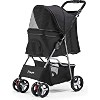 i.Pet Folding Pet Stroller Dog/Cat Travel Carrier-Black