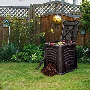 Worth Garden 115 Gallon Capacity Plastic Outdoor Composting Bin Waste Processor