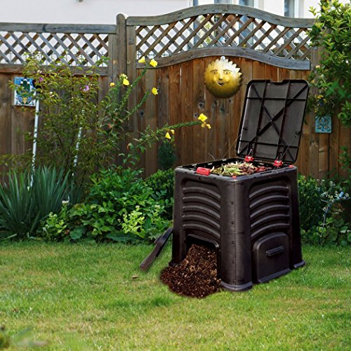 Worth Garden 115 Gallon Capacity Plastic Outdoor Composting Bin Waste Processor
