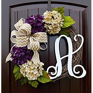 Hydrangea Monogram Letter Wreath with Two Bow Options and Antique White and Purple Hydrangeas on Grapevine Base-Farmhouse Style Door Decor 76