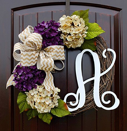 (Hydrangea Monogram Letter Wreath with Two Bow Options and Antique White and Purple Hydrangeas on Grapevine Base-Farmhouse Style Door Decor)