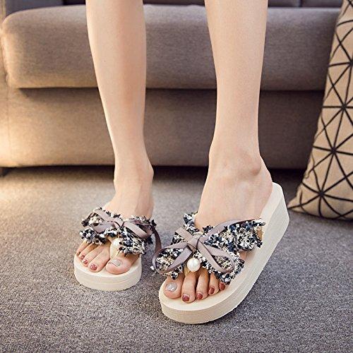 pajarita al antideslizante inferior dulce a damas blanda inferior verano de calzado grueso clip zapatillas FLYRCX libre de moda aire sandalias playa fondo de wqEYaxUW