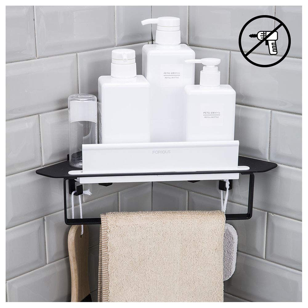 FORIOUS Bathroom Shower Caddy and Kitchen Shelf Combine with Squeegee, Towel Ring and Robe Hooks, Patented Glue + 3M Self-Adhesive, Aluminum, Black