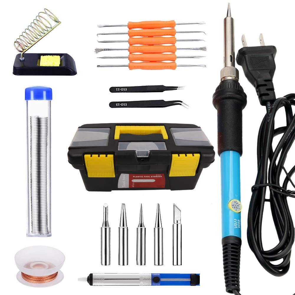 20 in 1 Soldering Iron Kit Electronics 60W 110 V-Adjustable Temperature Soldering Iron, 5pcs Soldering Iron Tips, Desoldering Pump, Soldering Stand, Solder Wire, Solder Wick, Tweezer #DLT-029