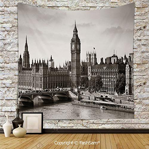 FashSam Polyester Tapestry Wall Westminster with Big Ben and Bridge Nostalgic Image British Antique Architecture Decorative Hanging Printed Home Decor(W51xL59)