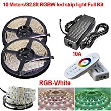 Firstsd 10M/ 32.8ft RGBW (RGB+Cool white) 5050 LED Strip Flexible Light Full kit Waterproof IP65, LED Ribbon, LED Light Strips, For Home/Kitchen/Car/Bar + 2.4G Touch Controller + Power Adapter