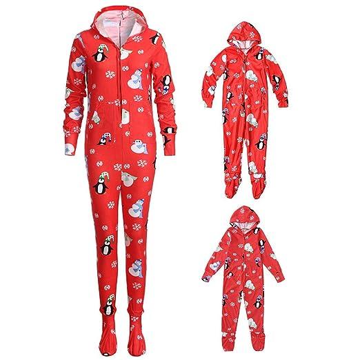 f99921a6bcf Yezijin Snowflake Hooded Romper Jumpsuit Family Pajamas Matching Christmas  Set Sleepwear Outfit (1-2