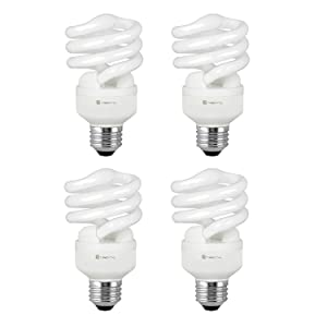 Compact Fluorescent Light Bulb T2 Spiral CFL, 5000k Daylight, 13W (60 Watt Equivalent), 900 Lumens, E26 Medium Base, 120V, UL Listed (Pack of 4)