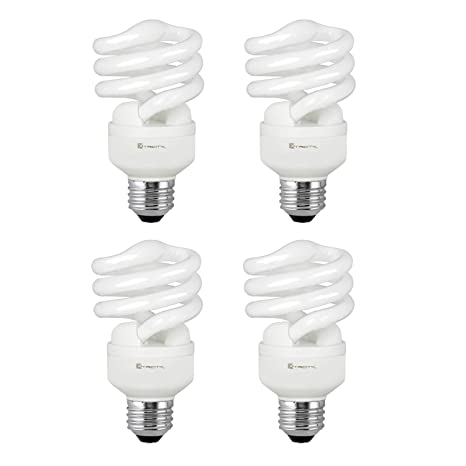 Compact Fluorescent Light Bulb T2 Spiral CFL, 4100k Cool White, 13W (60 Watt Equivalent), 900 Lumens, E26 Medium Base, 120V, UL Listed (Pack of 4) ...