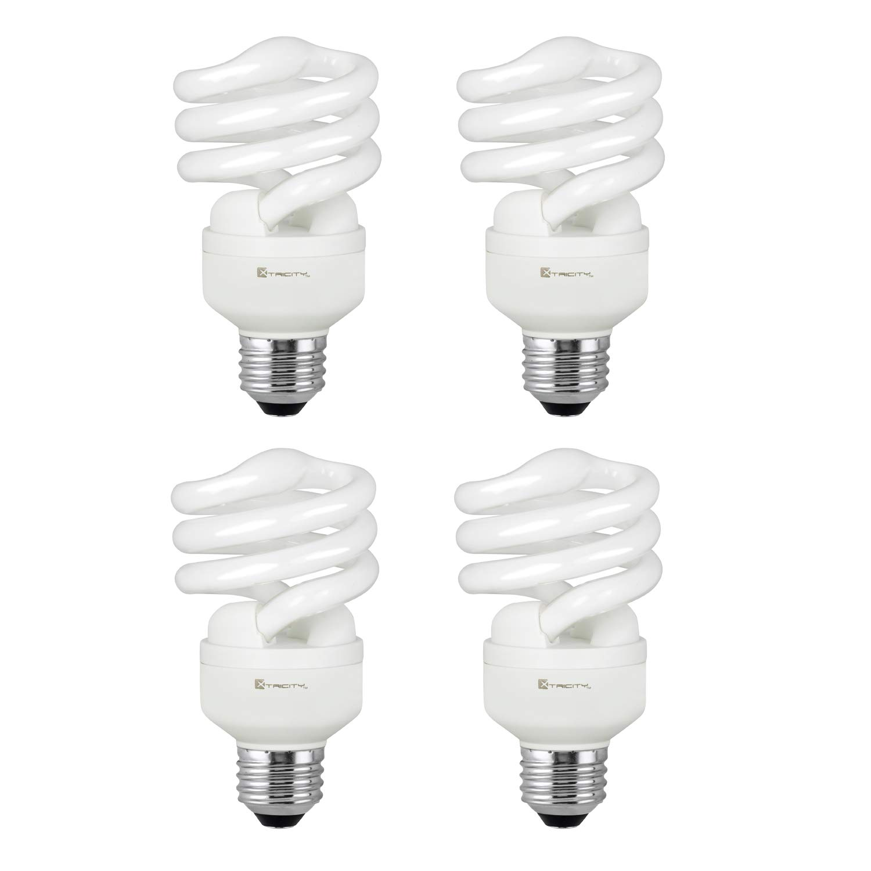 Compact Fluorescent Light Bulb T2 Spiral CFL, 4100k Cool White, 13W (60 Watt Equivalent), 900 Lumens, E26 Medium Base, 120V, UL Listed (Pack of 4)