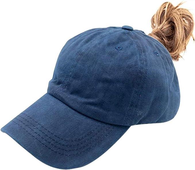Waldeal Women Ponytail Vintage Washed Distressed Dad Hat Messy High Bun Ponycaps Plain Baseball Cap